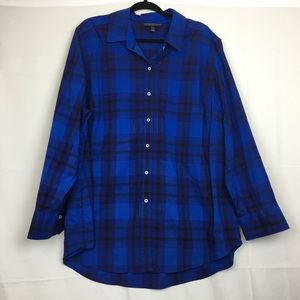 Lane Bryant button brown plaid blouse Size 24